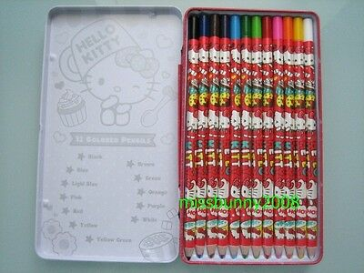 Sanrio 2014 Hello Kitty 12 Colored Pencils Japan Lead With Metal Case ~ Free P+P