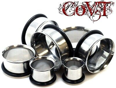 """Pair 12g-2"""" Stainless Steel Tunnels Single Flare Silver Plugs Ear Gauges"""
