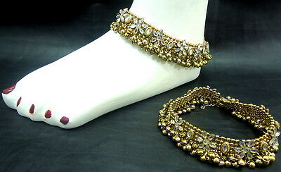 Oxidised Gold Tone Gypsy Tribal Indian Bollywood Dance Heavy Anklet Jewelry