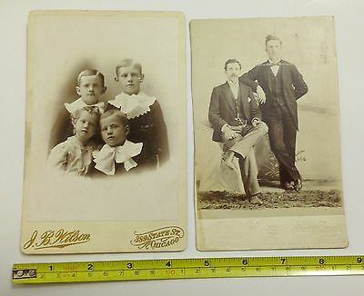 Nice Lot of 2 Family Photo People Late 1800s Early 1900s  Antique Kids and Men