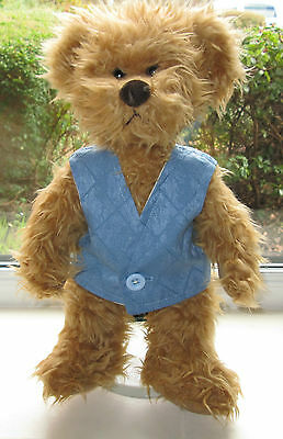 BN TEDDY CLOTHES, HANDMADE BLUE LINED WAISTCOAT TO FIT AN 14 INCH BEAR