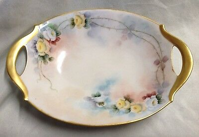 """PM BAVARIA BOWL/DISH WITH OPEN HANDLES ROSE PATTERN SIGNED """"FA WAGER""""  1895-1910"""