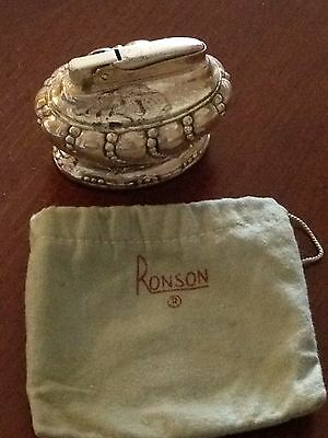Vintage RONSON  Crown Silver Plate Heavy Table Lighter