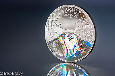 2011 L'Amour toujours Cameroon Silver Coin Hologram SWANS +FREE GIFT ex. VAT
