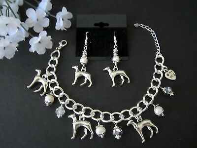 Greyhound Dog Charm Bracelet & Earrings with Freshwater Pearls &  Crystals