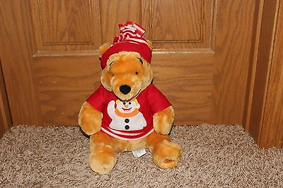 NWT Disney store exclusive Winnie the Pooh Holiday Christmas plush W/ snowman sw