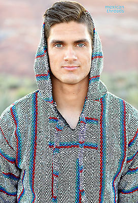 Baja Hoodie Drug Rug Jacket Pullover Poncho Mexican Threads S-XL Diamond Pattern