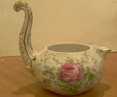 LEFTON China Pitcher Bowl  958 Hand Painted Floral Tall Handle