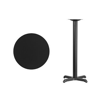 """24"""" Round Black Laminate Table Top With Base - Bar Height Restaurant Table"""