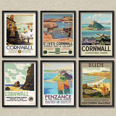 Vintage Travel & Railways Posters - Cornwall Collection 01 - A4 Thick Card