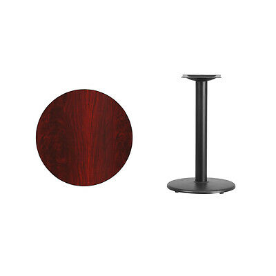 """24"""" Round Mahogany Laminate Table Top With Base - Table Height Restaurant Table"""