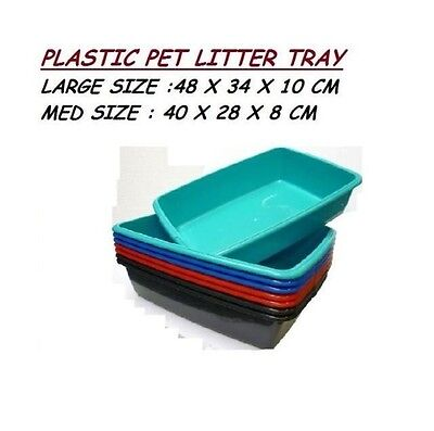 1x MEDIUM CAT PET LITTER PLASTIC TRAY KITTEN DOG ANIMAL TOILET RED TEAL BLUE