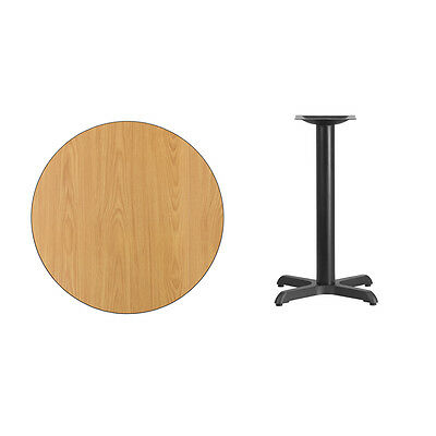"""30"""" Round Natural Laminate Table Top With Base - Table Height Restaurant Table"""