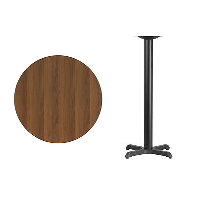 """30"""" Round Walnut Laminate Table Top With Base - Bar Height Restaurant Table"""