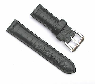 24mm Thick Alligator Grain Leather Padded Black Watch Band - with Spring Bars