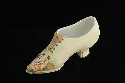 Beautiful Royal Bayreuth Rose Tapestry Shoe Portrait Scene With Courting Couple