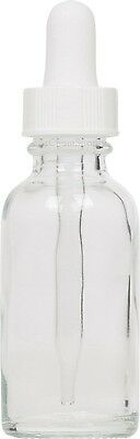 100 Pack Clear Glass Boston Round Bottle w/ White Glass Dropper 1 oz