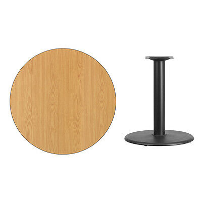 """36"""" Round Natural Laminate Table Top With Base - Table Height Restaurant Table"""