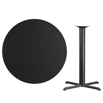 """42"""" Round Black Laminate Table Top With Base - Bar Height Restaurant Table"""