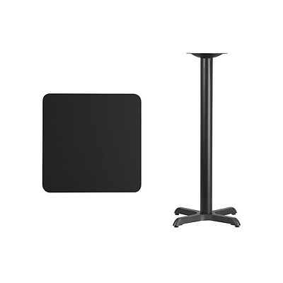 """24"""" Square Black Laminate Table Top With Base - Bar Height Restaurant Table"""