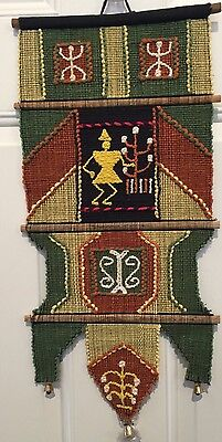 """Vintage Boho Hand Woven Hippie Yarn Art Wall Hanging With Bells 10 X 22"""""""