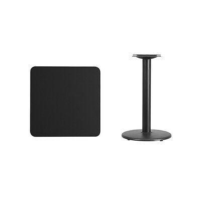 """24"""" Square Black Laminate Table Top With Base - Table Height Restaurant Table"""