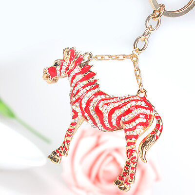 Lovely Horse Red Pendant Charm Rhinestone Crystal Purse Bag Key Ring Chain Gift