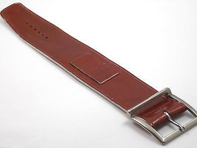 """Vintage Wrist Band Bronze Leather Silver Tone Buckle 17.5mm 11/16"""" New Old Stock"""