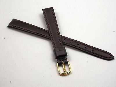 "Brown Calfskin 10mm 3/8"" Watch Band Vintage Ladies Gold Tone Buckle Hadley Roma"