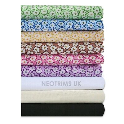 Neotrims Daisy Dasies Dots Print Woven Fabric Material, Apparel, Curtains, Cheap
