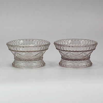 Pair of Antique EAPG clear glass jam nut Bowls in cable pattern Boston Sandwich
