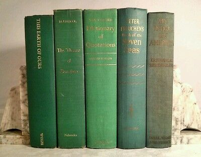 1941~Vintage Green 5 Book Lot~Instant Library~Old Display Set~Decorative Binding