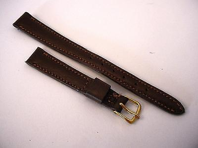 """Womans Norwgn Calf Padded Vintage Mormac Watch Band 7/16"""" Goldtone Buckle"""