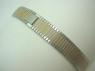 Two Tone Base Metal Mens Vintage Watch Band Lassale Butterfly Clasp 10mm 3/8""
