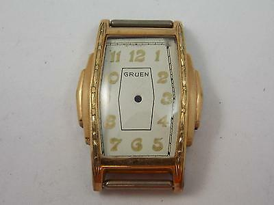Ladies Vintage Watch Case Gruen Gold Tone Crystal Dial Crown New Old Stock