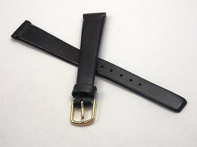 "Ladies Watch Band Vintage Gold Tone Buckle 13mm 1/2"" Black Imitation Leather NOS"