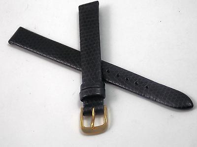 11mm Speidel Black Lizard Grain Vintage Ladies Watch Band Gold Tone Buckle NOS