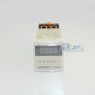 220V AC Programmable Double Time Delay Relay Repeat Cycle Relay Timer DH48S-S