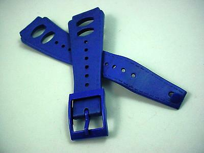 "rk Blue Rubber Vintage Mens Watch Band 19mm 3/4"" Water Proof New Old Stock"