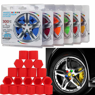 20pcs/Set Red Silicone Wheel Lugs DUST Cover Caps Nuts Bolts Hub Screw New 17mm