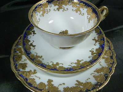 NORITAKE c1920 GILDED TEA CUP AND SAUCER TRIO COBALT  RAISED GOLD GILT BEADED