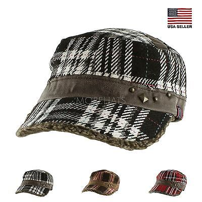 Wool Plaid Stud Sherpa Baseball Army Cap Hat Warm Soft Fall Winter Women's Men's