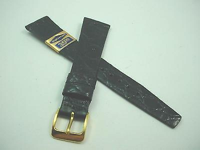 "Stylecraft Mens Black Crocodile Vintage Watch Band Gold Tone Buckle19mm 3/4"" NOS"