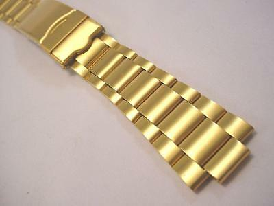 ROWI Mens Vintage Watch Band Goldtone Locking Deployment Clasp  22, 20, or 18mm
