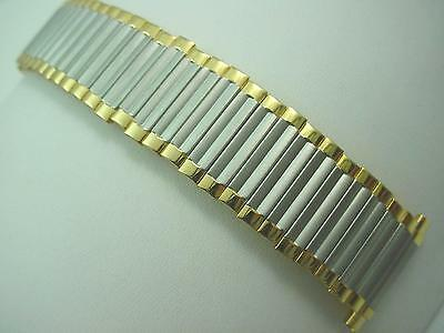 "17.5mm-23mm 11/16""-7/8"" Mens Speidel Vintage Watch Band Two Tone Expansion NOS"