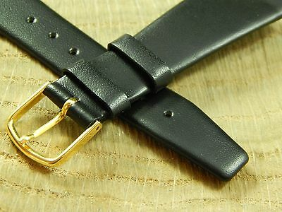 "Mens Short Calf Black Watch Band Vintage Gilden Goldtn Bckl 3/4"" 20mm New Old St"