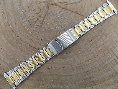 "Vintage Mens Watch Band Two Tn Stainless 16mm-22mm 5/8""-7/8"" Locking Deployment"