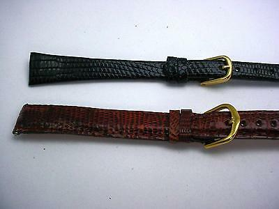 2 Band Lot of Honey & Black Lizard Watch Bands 14mm Kreisler Ladies Vintage Long