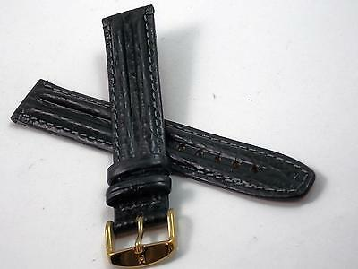 Hirsch Mens Vintage Watch Band Water Resistant 18mm Black Leather Gold Tn Buckle