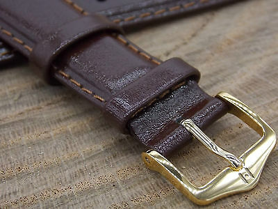 20mm Mens Vintage Watch Band Water Resistant Hirsch Brumby Brown Leather NOS